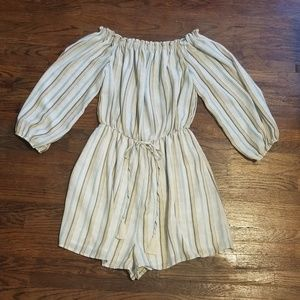 Lush Striped Off the Shoulder Romper